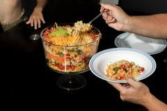 Плита сервировки мамы Multi наслоенного салата Стоковая Фотография
