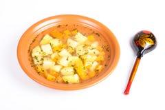 Плита супа картошки Стоковое фото RF