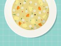 Плита с лапшой и овощным супом на таблице Стоковые Изображения RF