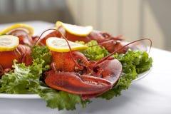 Плита с зеленым салатом и омаром Стоковое Изображение