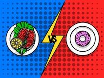 Плита с здоровой едой против плиты с донутом над предпосылкой полутонового изображения Бесплатная Иллюстрация