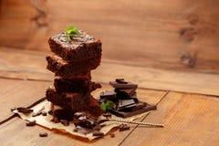Плита с очень вкусными пирожными шоколада Стоковое Изображение