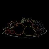 Плита с плодоовощ, иллюстрацией вектора Стоковая Фотография RF
