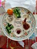 Плита Seder еврейской пасхи Стоковые Изображения