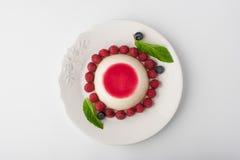 Плитка Panna с ягодами и взгляд сверху мяты Стоковые Фото
