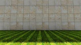 Плитки пола и Grunge зеленой травы в предпосылке Стоковая Фотография