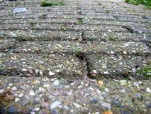 Плитки улицы с камешками закрывают вверх текстурированная предпосылка Стоковая Фотография
