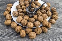 Плиты естественных грецких орехов и грецкого ореха crumbs плита a сухих грецких орехов, самых чудесных изображений грецкого ореха Стоковое Изображение RF