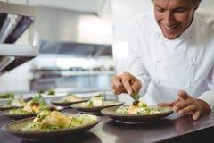 Плиты закуски мужского шеф-повара рассматривая на станции заказа Стоковые Изображения RF