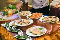 Плиты различного мяса Стоковая Фотография RF