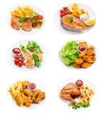 Плиты различных мяса, рыб и цыпленка Стоковые Фото