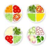 Плиты с овощами Стоковая Фотография