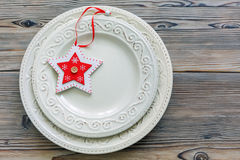 Плиты фарфора с оформлением рождества Стоковые Изображения