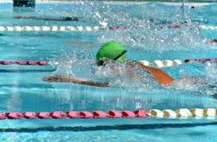 Пловец брасса на соревнованиях по плаванию Стоковые Фото