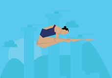 Пловец иллюстрации женский состязаясь в событии подныривания Стоковые Изображения RF
