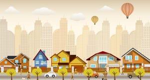 Плоская городская жизнь (ретро цветы) бесплатная иллюстрация