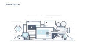 Плоская линия заголовок дизайна - видео- маркетинг бесплатная иллюстрация