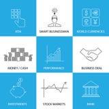 Плоская линия значки на финансах, деньги, валюты - вектор концепции бесплатная иллюстрация