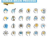 Плоская линия значки установленные процесса человеческого мозга
