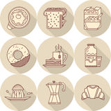 Плоская линия значки для вкусного завтрака Стоковое Изображение RF