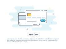 Плоская линия концепция значка кредита или кредитной карточки также вектор иллюстрации притяжки corel Стоковое Изображение