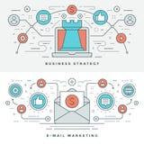 Плоская линия стратегия бизнеса и маркетинг также вектор иллюстрации притяжки corel иллюстрация штока