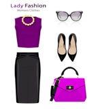 Плоская идея проекта взгляда моды Одежда женщины установленная с аксессуарами Красочные ультрамодные объекты одежд иллюстрация штока