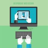 Плоская идея проекта для отзывчивого веб-дизайна Стоковое фото RF