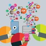 Плоская идея проекта для социальной сети Стоковое Изображение RF