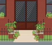 Плоская иллюстрация вектора дверей фасада с лестницами Стоковое фото RF