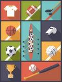 Плоская иллюстрация вектора значков командных видов спорта дизайна Стоковые Фото