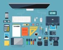 Плоская иллюстрация вектора дизайна творческого дизайнерского рабочего места Взгляд сверху Стоковые Изображения