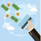 Плоская иллюстрация вектора с кредитной карточкой, рукой, деньгами Стоковое Фото