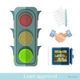 Плоская иллюстрация дела концепции обеспечивать кредит или утверждение кредита иллюстрация штока