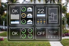 Плоская иллюстрация дизайна приборной панели домашней автоматизации для того чтобы контролировать бытовые устройства Стоковое Изображение