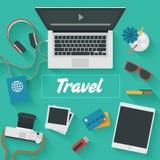 Плоская иллюстрация дизайна: Путешествия Стоковое Фото