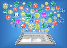 Плоская иллюстрация дизайна современных умных телефона или таблетки соединилась к интернету вещей через вычислять облака Стоковые Фотографии RF
