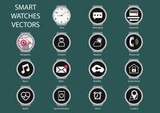 Плоская иллюстрация дизайна умного значка циферблата вахты Стоковое Изображение RF