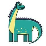 Плоская иллюстрация динозавра цвета для книги детей Стоковые Изображения