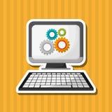 Плоская иллюстрация о дизайне компьютера Стоковые Изображения RF