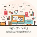 Плоская иллюстрация стиля для бухгалтерии цифров Стоковое Изображение