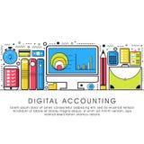 Плоская иллюстрация стиля для бухгалтерии цифров Стоковое Изображение RF