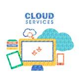Плоская иллюстрация для концепции обслуживания облака Стоковая Фотография