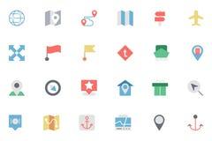 Плоская карта и покрашенные навигацией значки 4 Стоковые Фотографии RF
