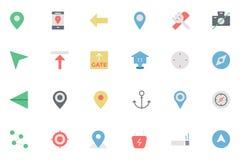 Плоская карта и покрашенные навигацией значки 1 Стоковые Изображения RF