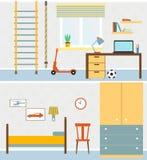 Плоская комната мальчиков иллюстрация Стоковое Изображение RF