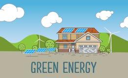 Плоская конструированная концепция знамени дома Eco дружелюбного Стоковые Фотографии RF