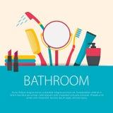 Плоская концепция ванной комнаты дизайна Стоковая Фотография RF