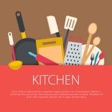 Плоская концепция кухни дизайна Стоковая Фотография RF