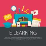 Плоская концепция обучения по Интернетуу дизайна Стоковые Фотографии RF